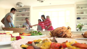 Group Of Friends Having Dinner Party At Home stock footage