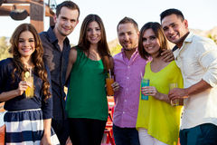 Group of friends having drinks Royalty Free Stock Images