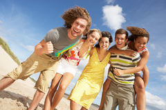 Group Of Friends Having Fun. On Summer Beach stock photo