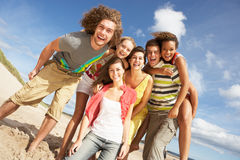 Group Of Friends Having Fun. On Summer Beach Royalty Free Stock Photos