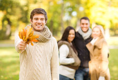Group of friends having fun in autumn park Royalty Free Stock Photography