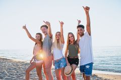 Group of friends having fun on the beach. Concept of summertime royalty free stock photo
