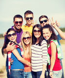 Group of friends having fun on the beach Stock Photography
