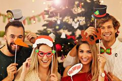 Group of friends having fun during Christmas Royalty Free Stock Photo