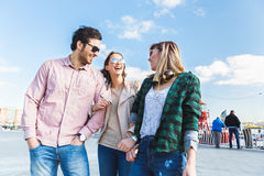 Group of friends having fun in Hamburg Stock Images