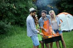 Group of friends having fun in nature doing bbq royalty free stock photos