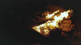 Group of friends having fun near the campfire on the beach near the sea at night, close-up of campfire, rapid video