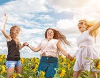 Group of friends having fun outdoors. In a field Royalty Free Stock Photo