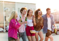 Group of friends having fun outdoors. Smiling Stock Photography