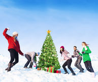 Group of Friends Having Fun in the Snow. Stock Images