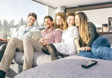 Group of friends having fun and spending time together. At home Stock Images