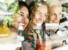 Group of friends having fun together stock image