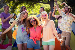 Group of friends having fun together at campsite. Portrait of group of friends having fun together at campsite on a sunny day royalty free stock photos