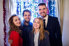 Group of friends having party on New Years Eve. Royalty Free Stock Photography