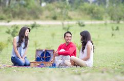 Group of friends having a picnic outdoors Royalty Free Stock Images