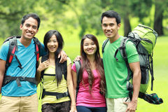 Group of friends on a hiking Stock Images