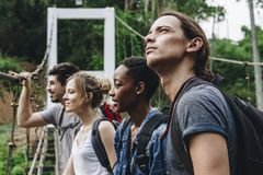 Group of friends on a hiking experience royalty free stock photos