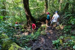Hiking in Costa Rica. Group of friends hiking in the Rincon de la Vieja National Park in Costa Rica stock image