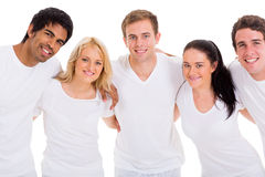 Group friends hugging. Group of cute friends hugging over white background royalty free stock images