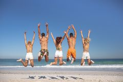 Group of friends jumping together on the beach. Rear view of group of diverse friends jumping together on the beach stock photography