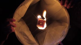 Group of Friends are Launching Sky Lantern stock video footage