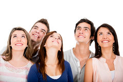 Group of friends looking up Royalty Free Stock Photos