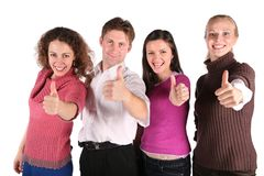 Group of friends make gestures Royalty Free Stock Image