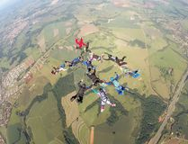 Skydiving group formation stock photography