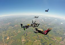 Skydiving group formation royalty free stock images