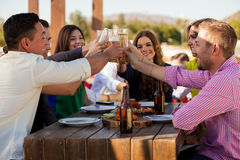 Group of friends making a toast Stock Images