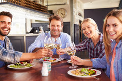 A group of friends making a toast at a restaurant, portrait royalty free stock photo