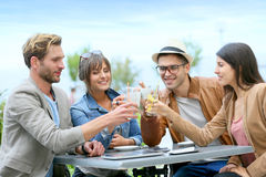 Group of friends making toast on restaurant's terrace royalty free stock photos