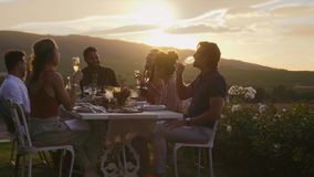 Millennial group enjoying at dinner party. Group of friends making a toast together outdoors. Young people having fun at a dinner party, raising a celebratory stock video footage