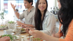 Group Of Friends Meeting For Lunch In Coffee Shop stock footage