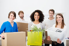 Group of friends moving house Stock Images