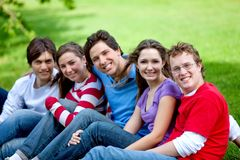 Group of friends outdoors Stock Images