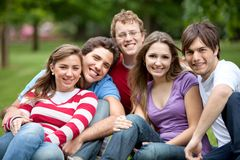 Group of friends outdoors Stock Photo