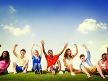 Group Friends Outdoors Celebration Winning Concept Stock Photo
