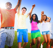 Group Friends Outdoors Celebration Winning Victory Fun Concept Royalty Free Stock Images