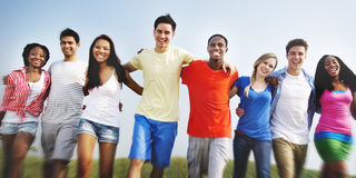 Group Friends Outdoors Diversed Cheerful Fun Concept Stock Images