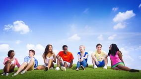 Group Friends Outdoors Diversed Cheerful Fun Team Concept Royalty Free Stock Images