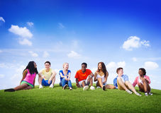Group Friends Outdoors Diversed Cheerful Fun Team Concept Royalty Free Stock Photography