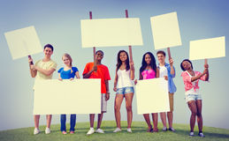 Group Friends Outdoors Placard Expression Cheering Team Concept Royalty Free Stock Images