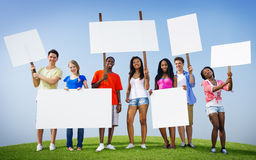 Group Friends Outdoors Placard Expression Cheering Team Concept Stock Photo