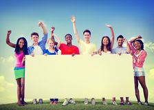 Group Friends Outdoors Volunteer Unity Cooperation Fun Concept.  Stock Images