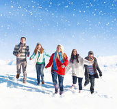 Group Of Friends Outdoors During Winter Stock Image