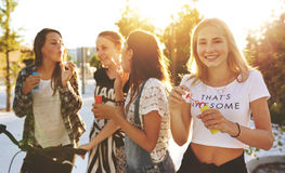 Group of friends outside Stock Image
