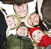 Group of friends outside in winter Royalty Free Stock Images