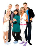 Group of friends at a party. Three young couples with glasses of champagne at a party or celebration Royalty Free Stock Photo