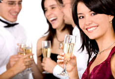 Group of friends at a party Stock Image